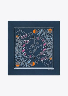 Tory Burch EMBROIDERED TOUCAN SQUARE SCARF