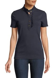 Tory Burch Emily Ruffled Pique Polo Shirt