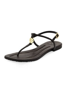 Tory Burch Emmy Flat Crackled Leather Sandal
