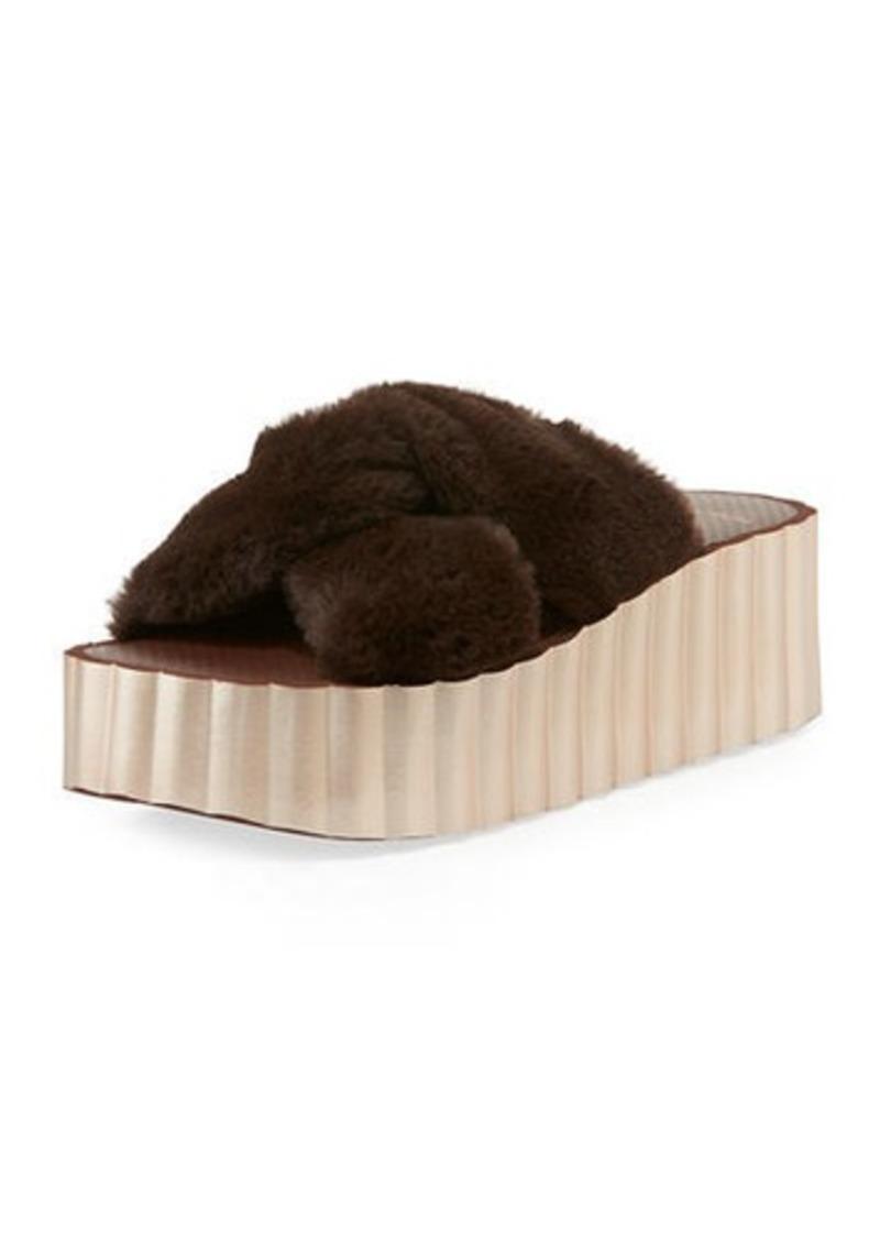 Tory Burch Faux-Fur Scallop Wedge Slide Sandals