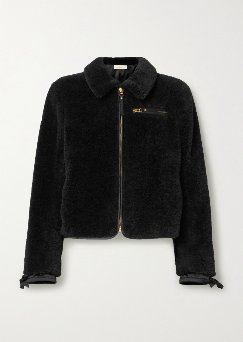 Tory Burch Faux Shearling Bomber Jacket