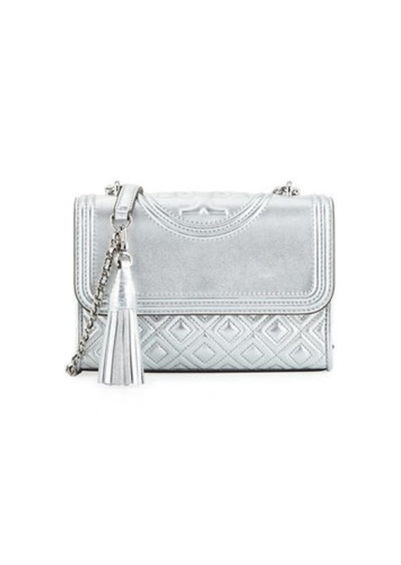 Tory Burch Fleming Small Convertible Metallic Leather Shoulder Bag