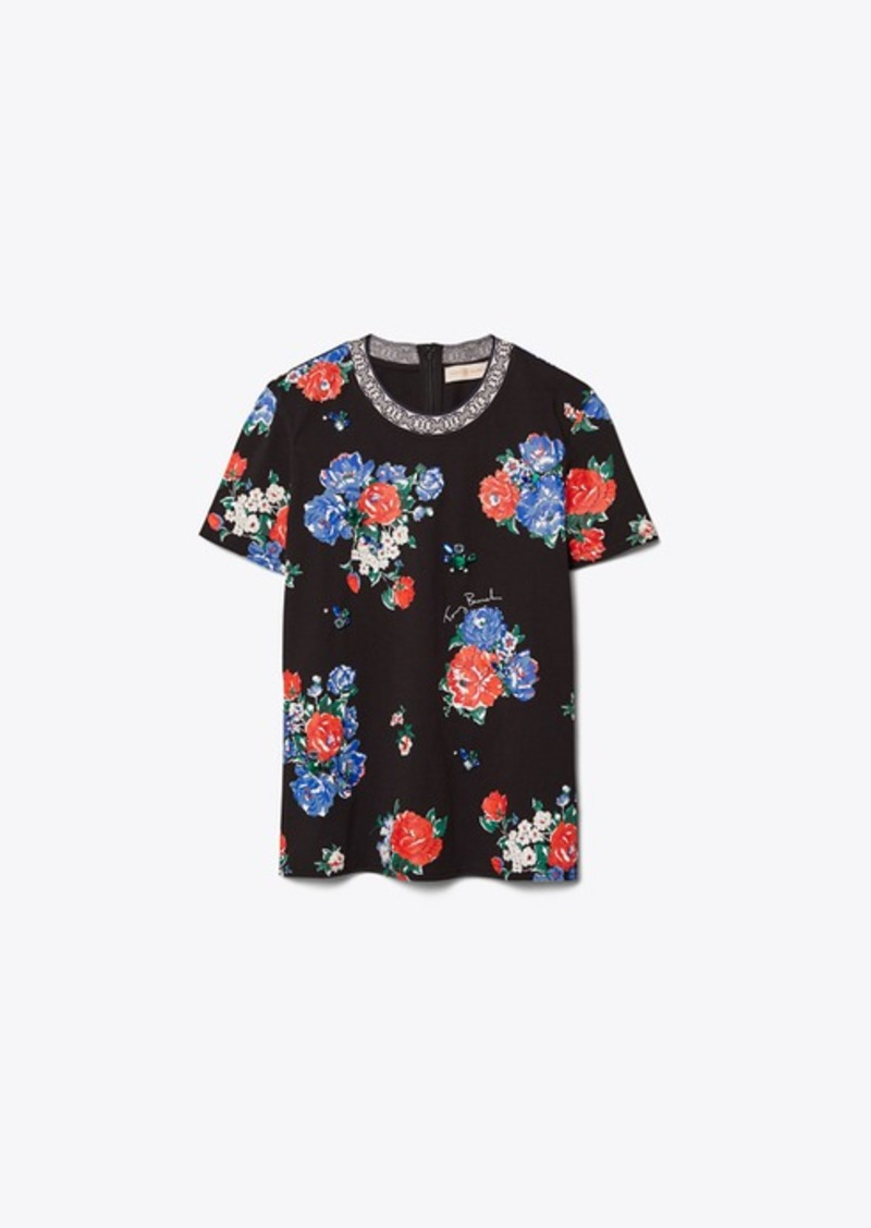 Tory Burch Floral Embellished T-Shirt
