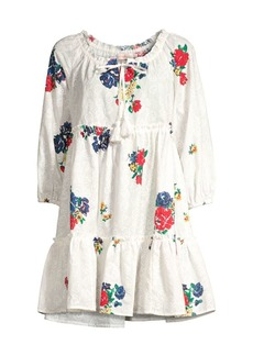 Tory Burch Floral Embroidered Ruffle Tassel Cover-Up