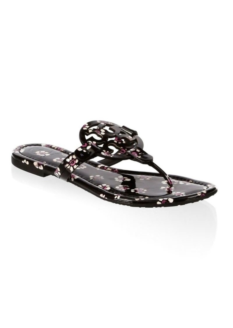 3b1f1150a4b5 Tory Burch Floral Leather Thong Sandals
