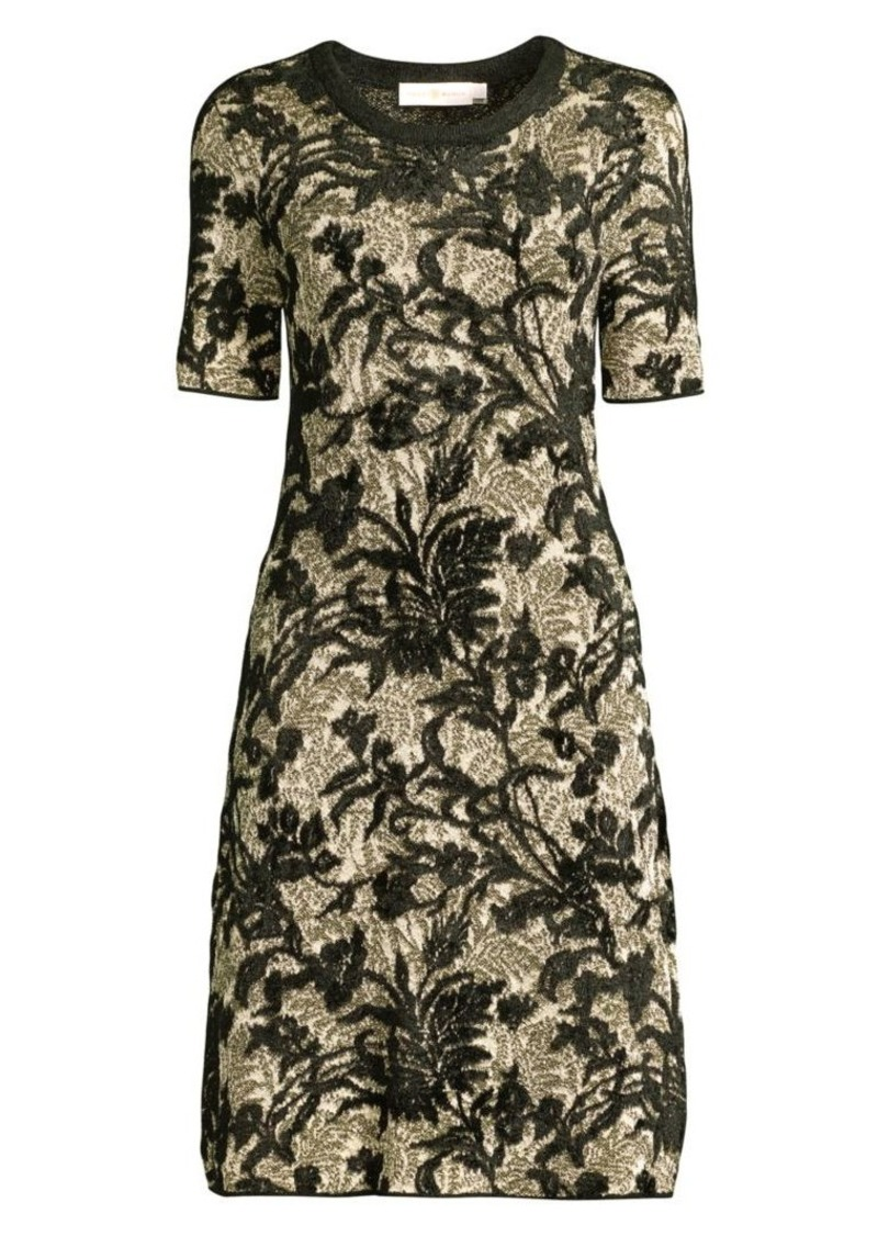 Tory Burch Floral Lurex Fit-&-Flare Dress