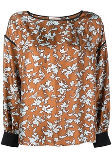 Tory Burch floral-print long-sleeved silk blouse