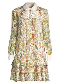 Tory Burch Floral-Print Stretch-Silk Shift Shirtdress