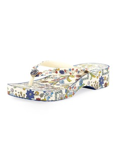 Tory Burch Floral-Print Wedge Thong Sandal