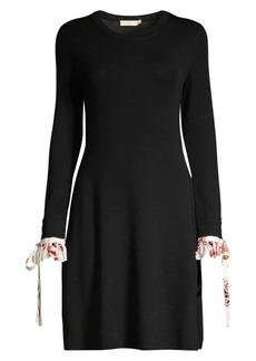 Tory Burch Floral Ruffle-Cuff Wool A-Line Sweater Dress