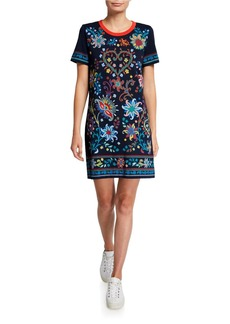 Tory Burch Floral Short-Sleeve T-Shirt Dress