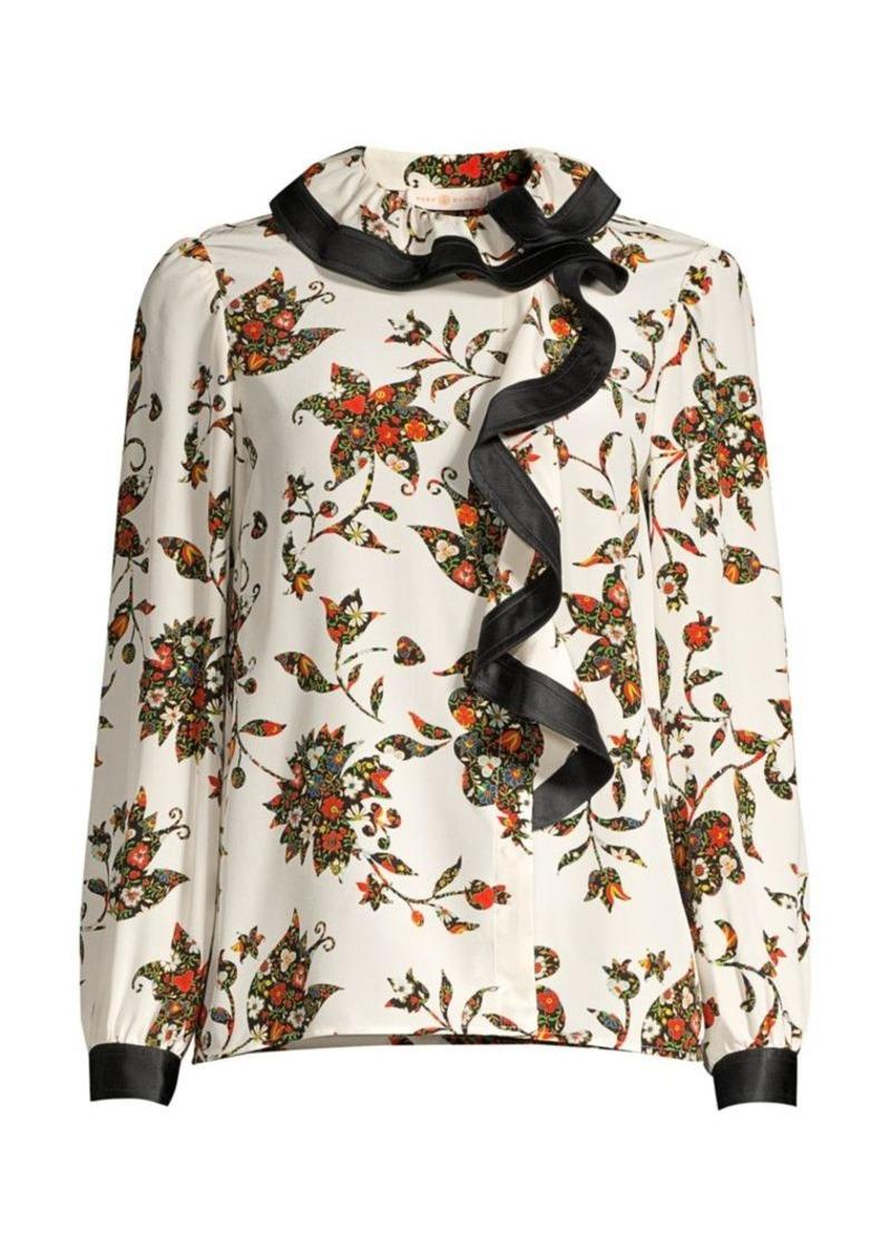 Tory Burch Floral Silk Ruffle Blouse