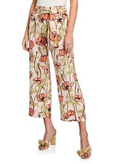 Tory Burch Gabriella Floral-Print Silk Full-Leg Pants