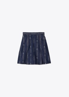 Tory Burch GEMINI LINK DENIM MINI SKIRT