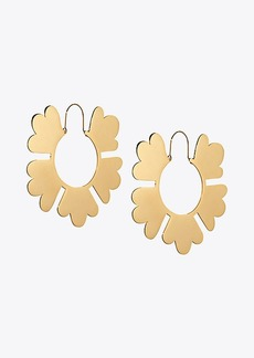 Tory Burch GEO FLOWER HOOP EARRING