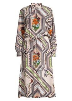 Tory Burch Geometric Floral Midi Dress