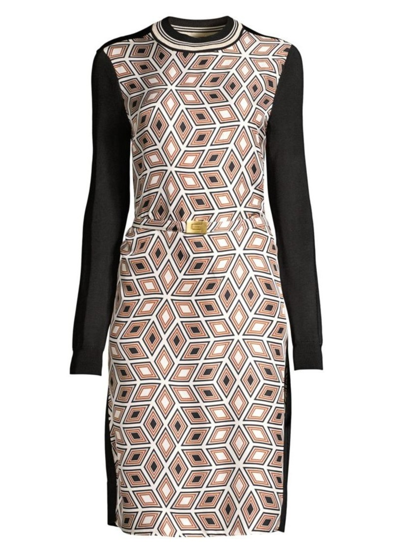 Tory Burch Geometric-Print Colorblock Belted Sweater Dress