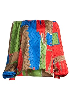 Tory Burch Geometric Silk Blouse
