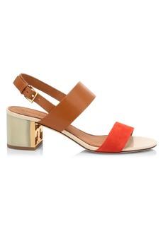 Tory Burch Gigi Leather & Suede Slingback Sandals