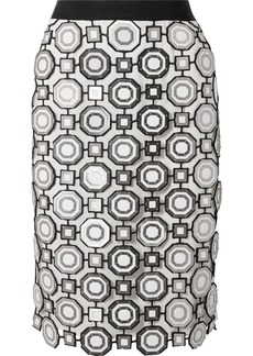 Tory Burch Gloria Embellished Guipure Lace And Linen Skirt