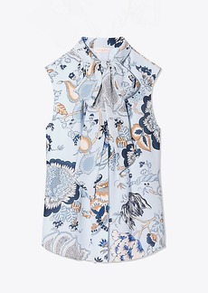 Tory Burch HAPPY TIMES SLEEVELESS BOW BLOUSE