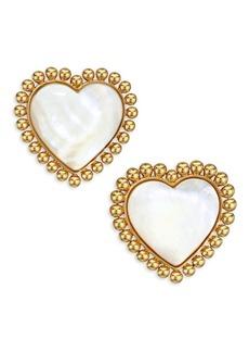 Tory Burch Heart Stud Clip-On Earrings