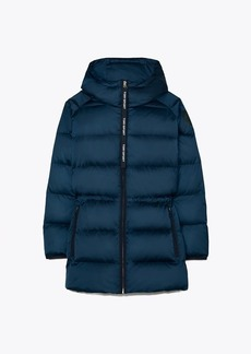 Tory Burch Hooded Performance Satin Down Jacket
