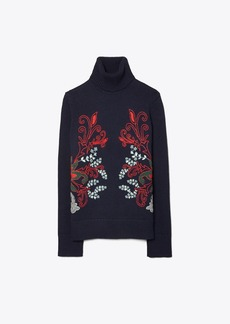 Tory Burch JACQUARD EMBROIDERED-FRONT TURTLENECK