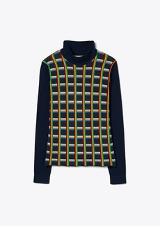 Tory Burch Jacquard-Front Ribbed Turtleneck