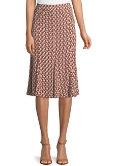 Tory Burch Jada Graphic-Print Matte Jersey Skirt