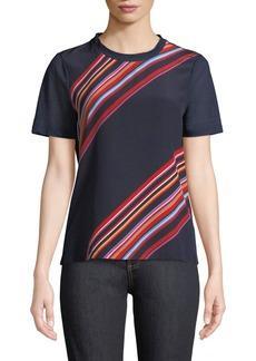 Tory Burch Kayla Asymmetric Striped T-Shirt