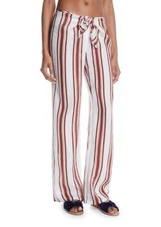 Tory Burch Kellen Striped Tie-Front Linen Beach Pants