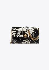 Tory Burch Kira Embroidered Velvet Chain Wallet