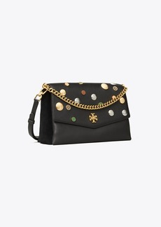 Tory Burch KIRA MIXED-MATERIALS EMBELLISHED SHOULDER BAG