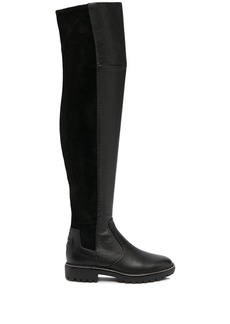 knee-length elasticated panel boots
