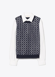 Tory Burch Lace-Front Poplin Pullover