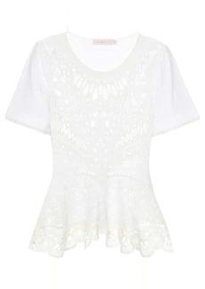 Tory Burch Lace-paneled cotton T-shirt