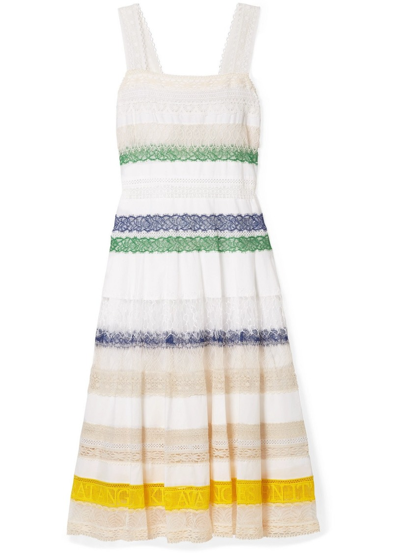 Tory Burch Lace-trimmed Cotton-voile Midi Dress