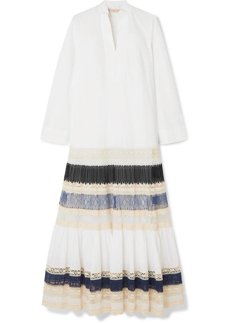Tory Burch Lace-trimmed Tiered Cotton-poplin Maxi Dress