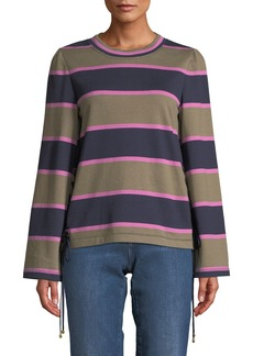 Tory Burch Lace-Up Rugby Stripe Cotton Pullover