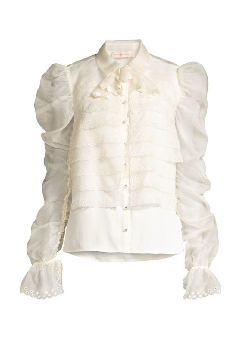 Tory Burch Layered Silk Organza Gathered-Sleeve Blouse
