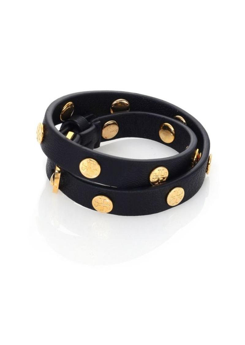 Tory Burch Leather Logo Studded Double-Wrap Bracelet