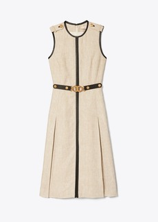 Tory Burch LEATHER-TRIMMED LINEN DRESS
