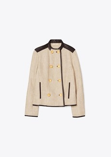 Tory Burch Leather-Trimmed Linen Jacket
