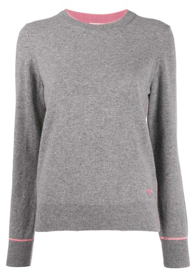 Tory Burch logo cashmere long-sleeve sweater