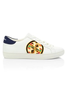 Tory Burch Logo Fil Coupé Leather Sneakers