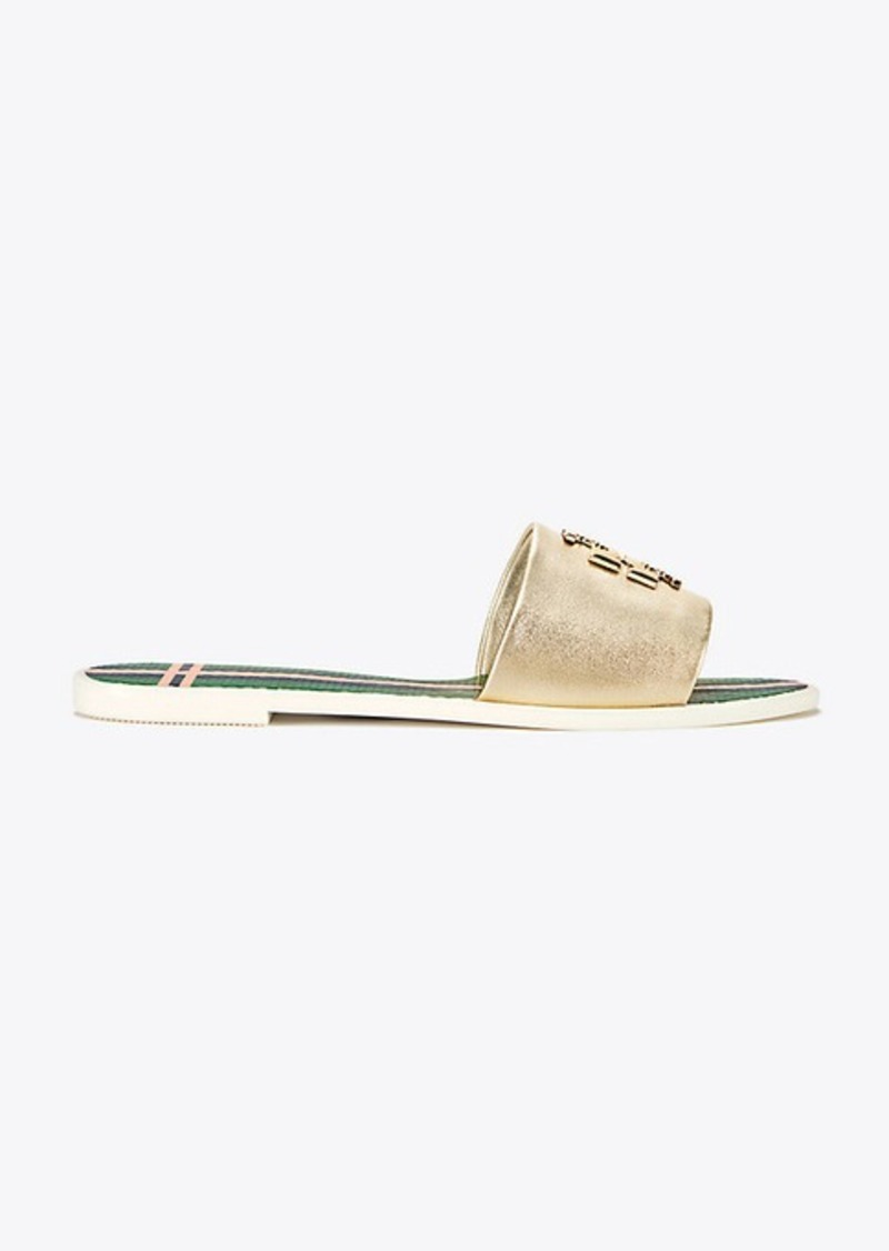 b5d0d0eecedf Tory Burch LOGO METALLIC JELLY SLIDE Now  89.00