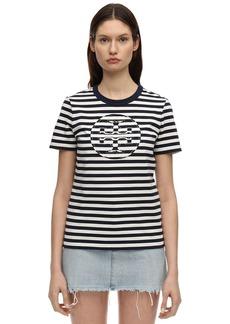 Tory Burch Logo Striped Cotton Jersey T-shirt