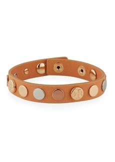 Tory Burch Logo-Studded Single-Wrap Leather Bracelet