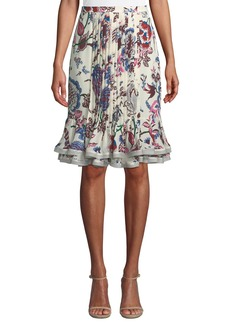 Tory Burch Louisa Floral-Print Pintuck Ruffle Skirt